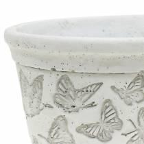 Bol à plantes blanc avec papillons 17cm x 12cm H8cm 2pcs