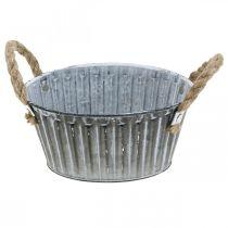 Bol en métal pour la plantation, pot de fleurs avec anses, bol à fleurs Ø22cm