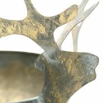 Bol avec tête de renne en métal doré aspect antique Ø14cm