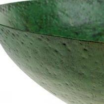 Bol décoratif grand métal vert décoration de table vintage Ø42cm