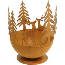 Bol en métal avec cerf, décoration forêt pour l'Avent, récipient décoratif en acier inoxydable Ø25cm H29cm