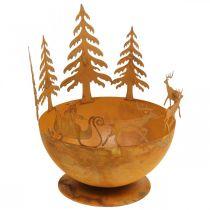 Bol décoratif avec traineau de Noël, décoration de l'Avent, récipient en métal, grille en acier inoxydable Ø25cm H32.5cm
