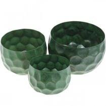 Bol décoratif en métal vert jardinière vintage Ø25 / 20,5 / 16,5cm lot de 3