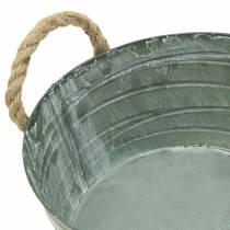 Bol en zinc, motif enroulé avec anses en corde, blanc lavé Ø21cm H11cm