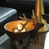 Bol avec tête de renne noir, métal doré Ø11 / 14cm lot de 2