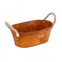 Cache-pot avec anses, bol d'herbes, décoration automne, patine L28cm H11cm