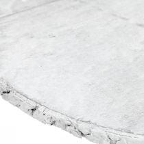 Disque décoratif en bois avec écorce sous-verre blanc en contreplaqué Ø20cm