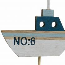 Bouchon décoratif bateau bois blanc bleu naturel 8cm H37cm 24pcs