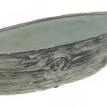 Jardinière bol ovale en béton bateau design bois 37×11,5cm H10cm