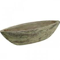 Jardinière ovale béton aspect bois marron clair 37×11,5cm H10cm