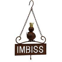 """Écriteau brun à suspendre """"Imbiss"""" 20 cm L. 31 cm"""