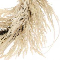 Couronne décorative herbe de pampa et roseaux crème artificielle 70cm