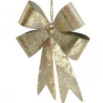 Noeud à accrocher, décorations de sapin, décoration métal doré, aspect antique H23cm L16cm
