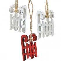 Traîneau décoratif à accrocher, décorations d'arbre de Noël, décorations d'hiver blanc/rouge L4.5cm 12pcs