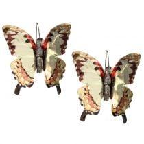 Papillon doré brillant sur clip 12 p.