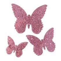 Décoration à contrôler Butterfly Pink-Glitter 5/4 / 3cm 24pcs