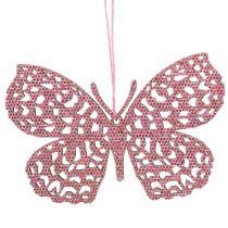 Attaches décoratives papillons fuchsia paillettes 10 cm 6 p.