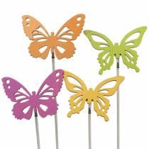 Bouchon fleur papillon bois 7x5.5cm 12pcs assortis