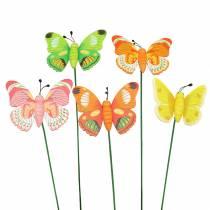 Broche fleur papillon bois assorti 7.5cm 16pcs