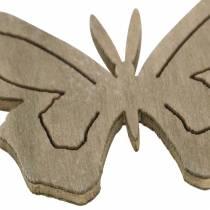 Papillons en bois blanc/marron à parsemer, 4 cm
