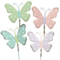 Piques florales papillon pastel 24 cm 12 p.