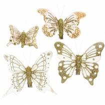 Plume papillon sur clip or paillettes 10pcs