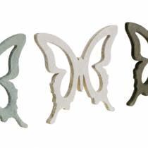 Papillon à saupoudrer 4cm marron, gris clair, blanc Décoration d'été en bois à saupoudrer 72pcs