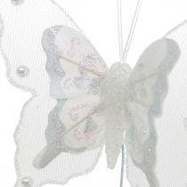 Papillons avec perles et mica, décorations de mariage, papillons en plumes sur fil blanc