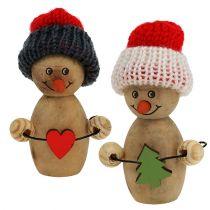 Bonhomme de neige en bois 8cm - 9cm 6pcs