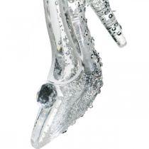 Chaussure suspendue, décorations de sapin, escarpins à paillettes, plastique argenté H10cm