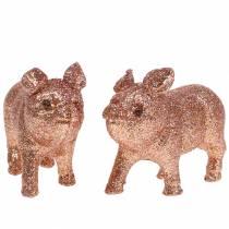 Cochon déco Rose avec paillettes 10cm 8pcs