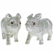 Cochon déco Argent avec paillettes 10cm 8pcs