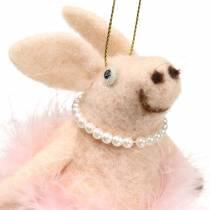 Cochon à suspendre rose clair 13cm