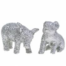 Cochon décoratif décoration Nouvel An paillettes argent 3.5cm 2pcs