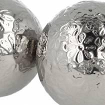 Boule flottante fleurs métal argenté Ø5,5cm assorties 6pcs