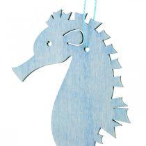 Hippocampe à suspendre bleu, cintre blanc décoration maritime 8pcs