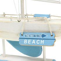 Voilier en bois décoratif bleu, blanc H. 41,5 cm
