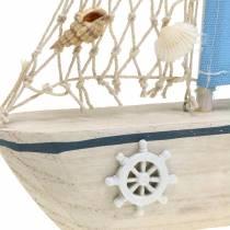 Voilier décoratif bois bleu blanc naturel 20x4cm H30cm