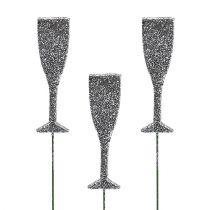 Flûte de champagne à paillettes sur pique Argent 8 cm L. 28 cm 24 p.
