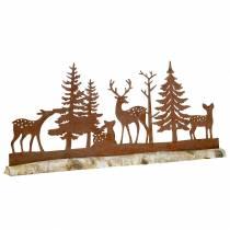 Silhouette de forêt avec animaux rustiqués sur socle en bois 57cm x 25cm