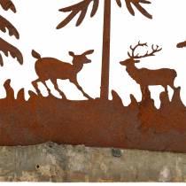 Silhouette de forêt avec animaux en inox sur socle en bois 30cm x 19cm