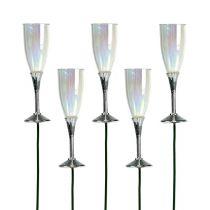 Déco de Nouvel An Flûte de champagne sur pique 7,5 cm L. 27 cm 12 p.