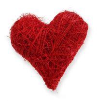 Coeurs en sisal 5-6 cm rouge 24p