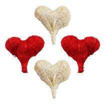 Coeurs en sisal 5 cm blanc/rouge 12 p.
