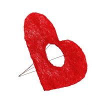 Manchette coeur sisal rouge 15cm 10pcs.