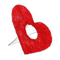 Manchette coeur sisal 20cm coeur rouge décoration fleur sisal 10pcs