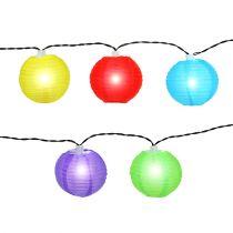 Guirlande multicolore de lanternes solaires 4,5 m 10 ampoules LED blanc froid