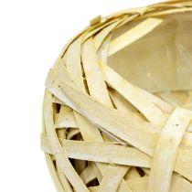 Corbeille jaune en sangles tressées Ø 25 cm H. 10 cm 1 p.
