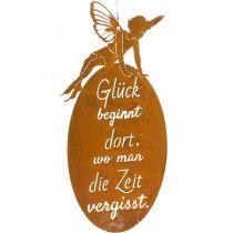 Enseigne en métal papillon elfe, enseigne à accrocher, cintre de décoration «Glück», décoration en métal inox 40 × 19cm