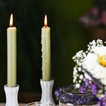 Bougie conique bougies en cire de couleur verte 180mm / Ø21mm 6pcs